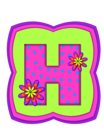 daisy pink: The letter H, in the alphabet set Daisy Daze, is colored in vivid pink with teal polka dots.  It is decorated with four layered daisies.  All sit on a pillow of neon green, hot pink and purple.