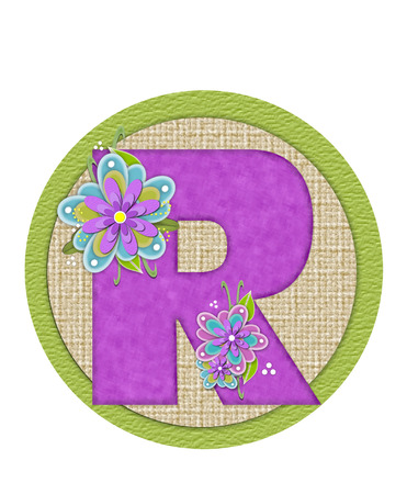The letter R, in the alphabet set Backyard Bouquet, is lilac and decorated with layered flowers in blue and lilac.  Background circle has woven texture and outlined in green.