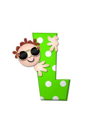 bahama: The letter L, in the alphabet set Bahama Sunny, is vivid green with large white polka dots.  Beach dude peeks his head in and around letter holding it with his hands.
