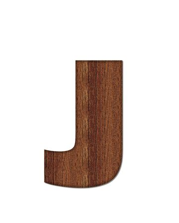 finished: The letter J, in the alphabet set Wood Grain resembles paneling or finished wood grain. Stock Photo