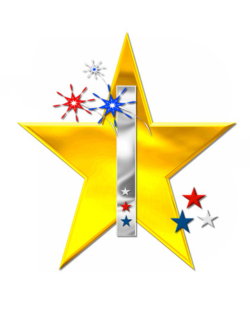 independance day: The letter I, in the alphabet set Patriotism is silver metallic.  Fireworks and stars decorate letter with red, white and blue.  Golden star serves as background.