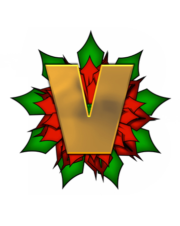 scrap gold: The letter V, in the alphabet set Christmas Poinsettia is shiny gold metallic.  Letter sits on a large red, poinsettia. Stock Photo
