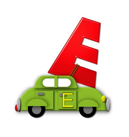 roped: The letter E, in the alphabet set Alphabet On the Go is tied with rope to transportation vehicles in different colors, shapes and sizes.  Letter is 3D, red and ready to GO!