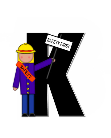 patrol: The letter K, in the alphabet set Children School Patrol, is black and outlined with white.  Child dressed as crossing guard wears banner, hat and carries sign. Stock Photo