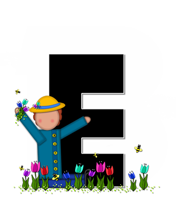 straw hat: The letter E, in the alphabet set Children Spring Tulips is black and trimmed with white.  Child holds bouquet of tulips and wears a straw hat.  Tulip garden grows at her feet. Stock Photo