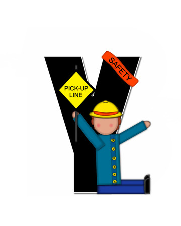 wears: The letter Y, in the alphabet set Children School Patrol, is black and outlined with white.  Child dressed as crossing guard wears banner, hat and carries sign.