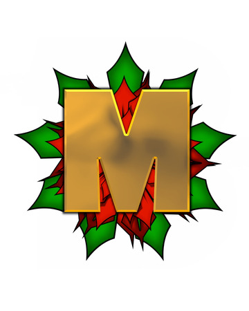 The letter M, in the alphabet set Christmas Poinsettia is shiny gold metallic.  Letter sits on a large red, poinsettia.