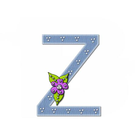 The letter Z, in the alphabet set Denim and Flowers is filled with denim fabric.  Edges are soft white and letter is decorated with dots and a large flower.
