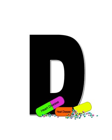 The letter D, in the alphabet set Wellness Check, is black and outlined with white.  RX capsules decorate letter with health diseases on each capsule.