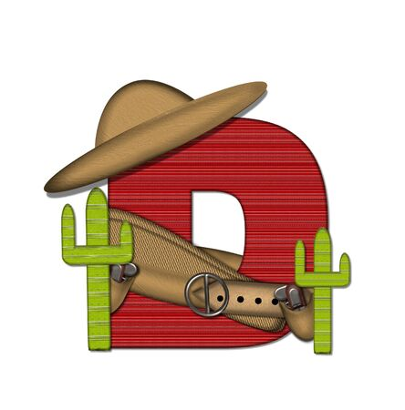 The letter D, in the alphabet set Bandido, is a red lined, tight woven pattern.  Letter is wearing a gun belt and blanket with a somberro on top.  Two cacti sit at each side.