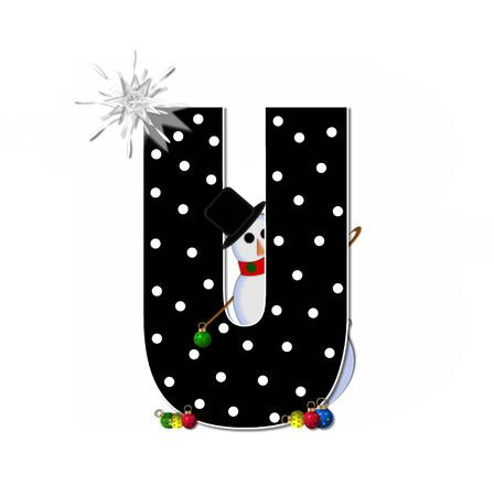 typographiy: The letter U, in the alphabet set Frosty, is black and decorated with a snowman and Christmas ornaments.  Snowman is wearing a red scarf and alphabet letter is topped with a glowing white star. Stock Photo