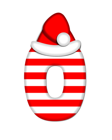 christmas candy: The letter O, in the alphabet set Christmas Candy Cane, is red and white striped.  Letter is decorated with floppy Santa cap.
