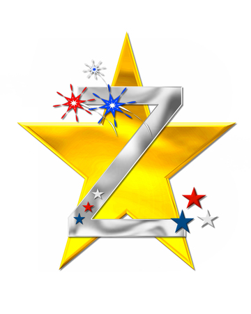 metalic background: The letter Z, in the alphabet set Patriotism is silver metalic.  Fireworks and stars decorate letter with red, white and blue.  Golden star serves as background.