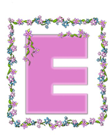 daisy pink: The letter E, in the alphabet set Daisy Fair Pink is a soft pastel shade of lilac.  Garland of ivy and flowers covers outline of letter and smaller chain of flowers drape letter.