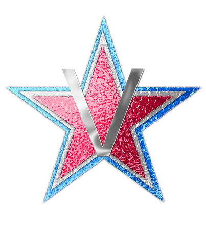The letter V, in the alphabet set All Star is silver metalic.  Three stars of red, white and blue form background.