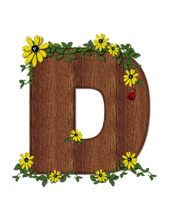 The letter D, in the alphabet set Ladybug and Sunflower is filled with wood texture.  Ladybug, sunflowers and vines decorate letter.