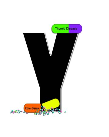 The letter Y, in the alphabet set Wellness Check, is black and outlined with white.  RX capsules decorate letter with health diseases on each capsule.