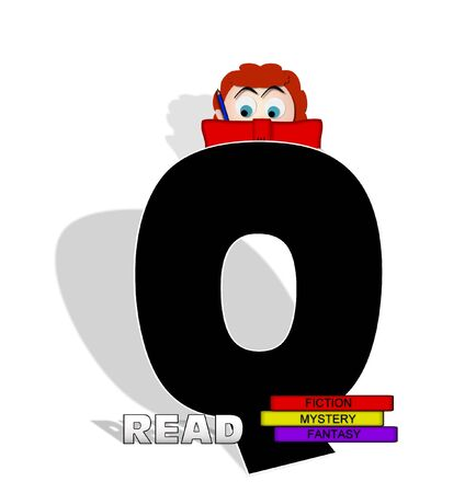 The letter Q, in the alphabet set Absorbed in Reading, is black and decorated with books and people absorbed in reading.  Stark shadow hangs behind letter.  Books have genre printed on spine binding.