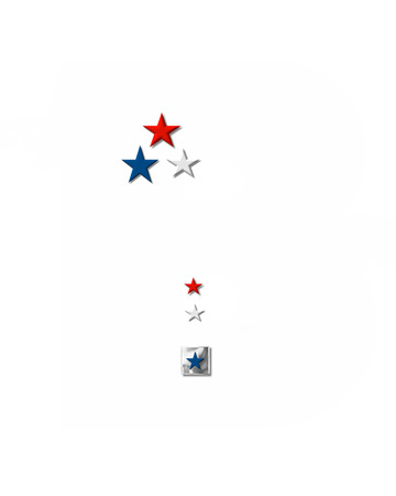 forth: Period, in the alphabet set Plain Patriotism is silver metalic.  Three stars decorate letter with red, white and blue.  Letters coordinate with Alphabet Patriotism.