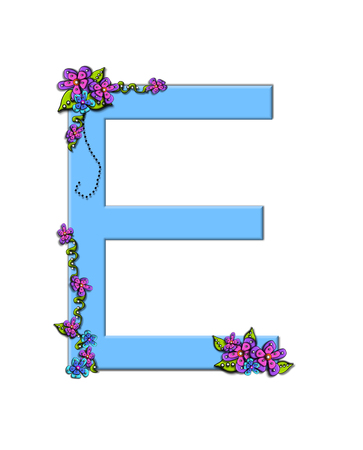 e pretty: The soft, blue letter E, in the alphabet set Burst of Spring Blue is decorated with bouquets of 3D flowers, with dots in white and black and vines of green.