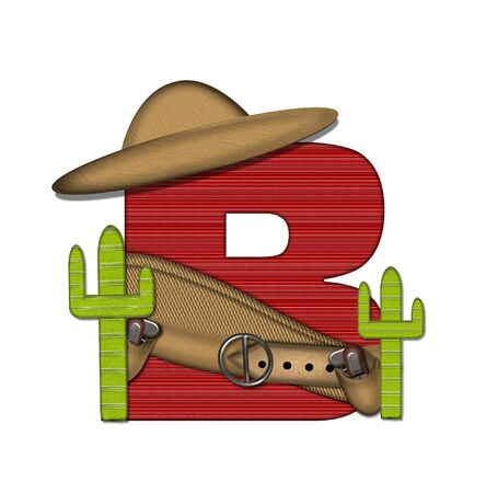The letter B, in the alphabet set Bandido, is a red lined, tight woven pattern.  Letter is wearing a gun belt and blanket with a somberro on top.  Two cacti sit at each side. Stock Photo