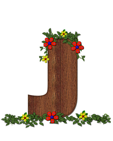 The letter J, in the alphabet set Woodsy Owl is filled with wood texture.  3D flowers hand on vines surrounding letter. Stock Photo