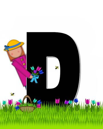 The letter D, in the alphabet set Children Tulip Patch is black outlined with white.  Children hold tulip bouquet and stand in colorful tulip patch.