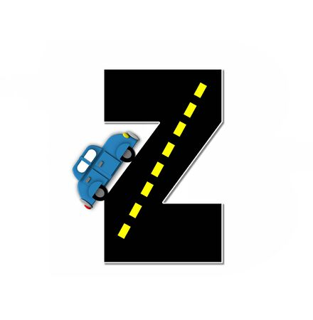 motorized: The letter Z, in the alphabet set Transportation by Road, is black with yellow dividing line representing a black top road.  Colorful, motorized vehicle navigates outside of letter.