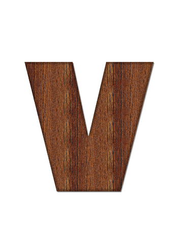 wood grain: The letter V, in the alphabet set Wood Grain resembles paneling or finished wood grain. Stock Photo