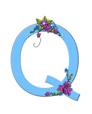 The soft, blue letter Q, in the alphabet set Burst of Spring Blue is decorated with bouquets of 3D flowers, with dots in white and black and vines of green. Stock Photo