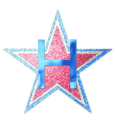 The letter H, in the alphabet set Red White and Blue is blue metallic.  Letter sits on three mosaic stars of red, white and blue.
