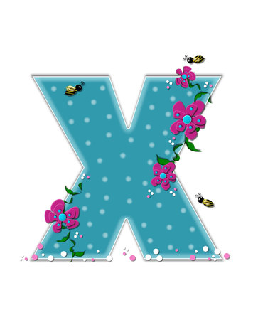 buzzing: The letter X, in the alphabet set Garden Buzz, is aqua.  Each letter is decorated with soft polka dots, flowers and buzzing bees.  Base of letter is covered in pink and white confetti.