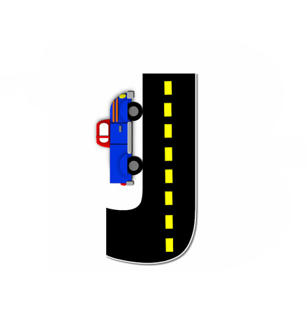 motorized: The letter J, in the alphabet set Transportation by Road, is black with yellow dividing line representing a black top road.  Colorful, motorized vehicle navigates outside of letter.