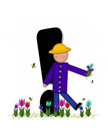 """exclamation point: Point d'exclamation, dans l'ensemble de l'alphabet """"Enfants Tulipes de printemps"""" est noir et garni de blanc. Enfant détient bouquet de tulipes et porte un chapeau de paille. jardin Tulip pousse à ses pieds."""
