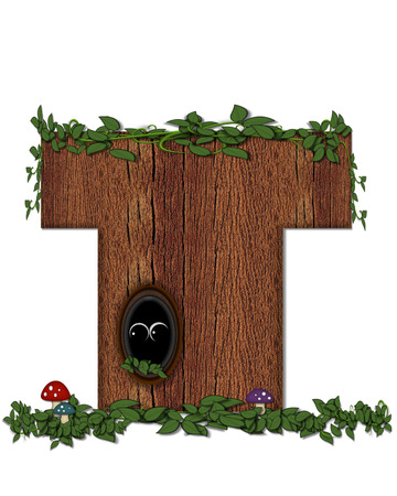 peeking: The letter T, in the alphabet set Log is filled with wod texture.  Vines and colorful mushrooms grow around letter.  Some letters have knot holes with peeking eyes. Stock Photo
