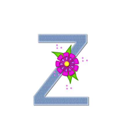 dandy: The letter Z, in the alphabet set Denim Dandy, is filled with light blue denim.  Letter is decorated with bright colored flower with polka dots.