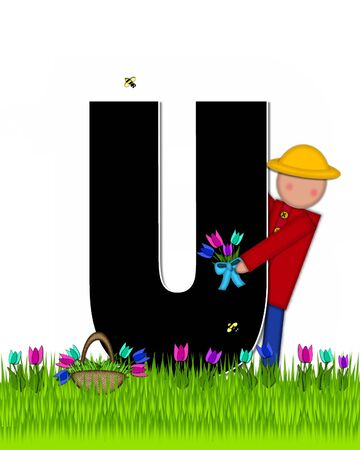 The letter U, in the alphabet set Children Tulip Patch is black outlined with white.  Children hold tulip bouquet and stand in colorful tulip patch. Stock fotó
