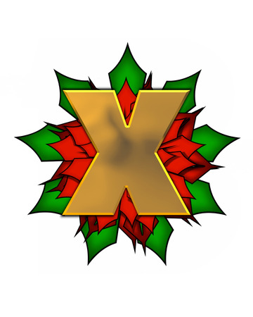 The letter X, in the alphabet set Christmas Poinsettia is shiny gold metallic.  Letter sits on a large red, poinsettia.