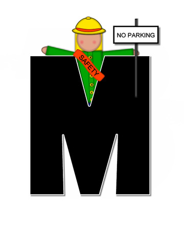 wears: The letter M, in the alphabet set Children School Patrol, is black and outlined with white.  Child dressed as crossing guard wears banner, hat and carries sign.