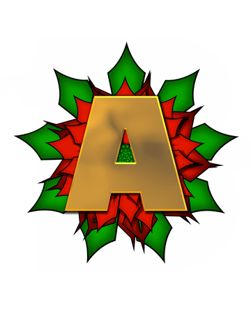metalic: The letter A, in the alphabet set Christmas Poinsettia is shiny gold metallic.  Letter sits on a large red, poinsettia.