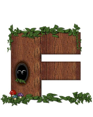 The letter F, in the alphabet set Log is filled with wod texture.  Vines and colorful mushrooms grow around letter.  Some letters have knot holes with peeking eyes.