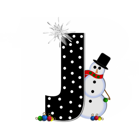 frosty: The letter J, in the alphabet set Frosty, is black and decorated with a snowman and Christmas ornaments.  Snowman is wearing a red scarf and alphabet letter is topped with a glowing white star.