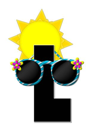 The letter L, in the alphabet set Sun Shades, is black and outlined with white.  Letter is decorated with wild, and zany sunshades with a yellow sun behind it. Stock Photo