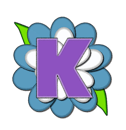 The letter K, in the alphabet set Flower Pin Blue, is purple with soft white outline.  Letter sits on large, blue and white flower.