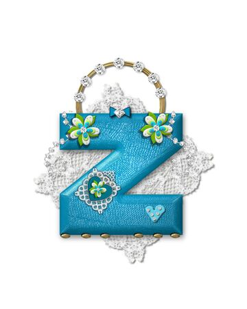 scrap gold: The letter Z, in the alphabet set Bling Bag, depicts aqua letter as a blinged out purse with gold handle.  Letter has lace, diamonds and flowers.  Background framing letter is a lace handkerchief.