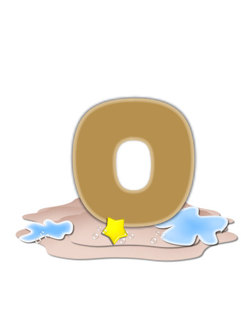 The letter O, in the alphabet set Ocean Swimming is tan.  Letter sits on beach and is decorated with water, bubbles and yellow starfish.