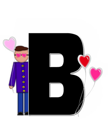b day: The letter B, in the alphabet set Alphabet Children Valentines is black with white outline.  Children holding valentines shaped ballons decorate letter.