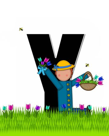 The letter Y, in the alphabet set Children Tulip Patch is black outlined with white.  Children hold tulip bouquet and stand in colorful tulip patch.