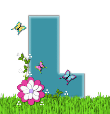 flutter: The letter L, in the alphabet set Happy Springtime, is turquoise.  Letter is sitting on bright green grass and is decorated with flower and vines.  Butterflies flutter around letter.