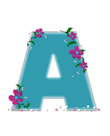 The letter A, in the alphabet set Fairy Tale Garden, is aqua and decorated with 3D flowers, vines and confetti. Stock Photo